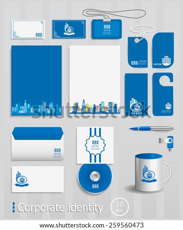 Business cards collection with City concept design. Ultimate vector set of printing materials template for branding identity. - stock vector