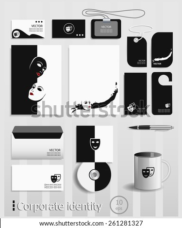 Business cards collection with comedy and tragedy theatrical masks concept design. Template for branding identity. - stock vector
