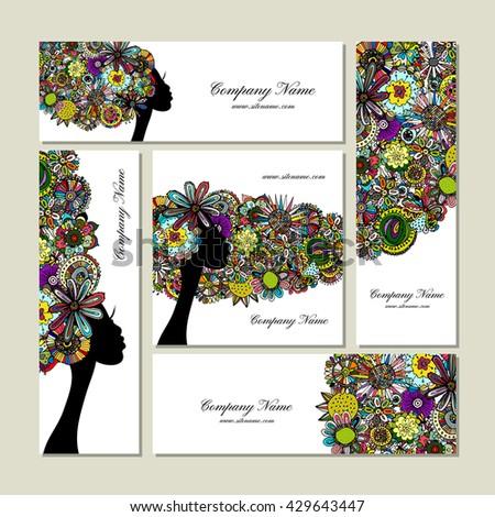 Business cards design, female floral portrait - stock vector