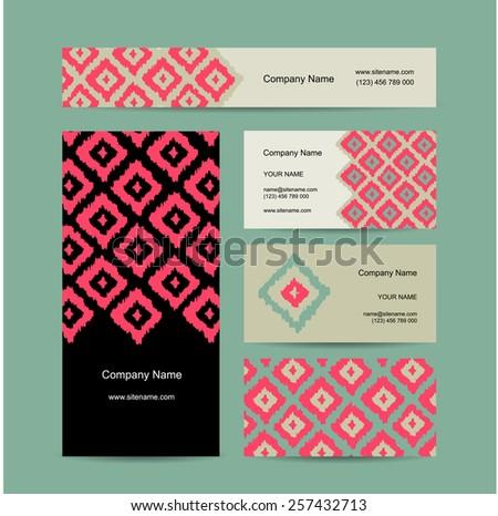 Business cards design, geometric fabric pattern, vector illustration - stock vector