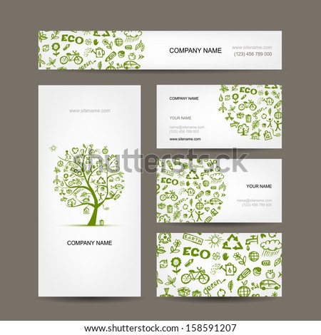 Business cards design, green ecology concept - stock vector