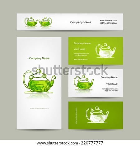 Business cards design, green trea sketch - stock vector
