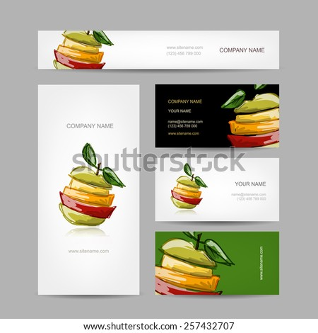 Business cards design, slices of fruits, vector illustration - stock vector