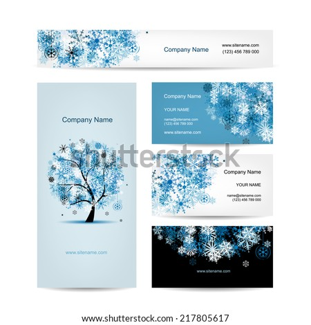 Business cards design, winter tree - stock vector