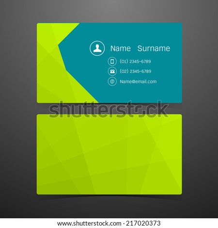 Business Cards Polygonal green design. Vector illustration - stock vector