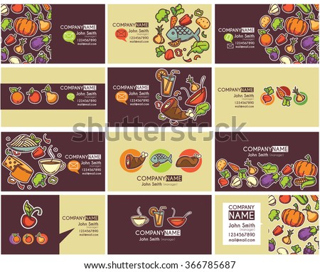 business cards templates and frames for healthy magazines, shops, cooking web sites and restaurants - stock vector