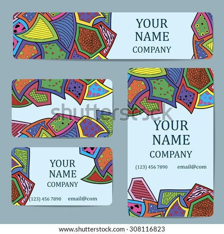 Business cards with colorful abstract rhombus. Card or invitation.Vintage decorative elements. Corporate Identity vector templates set with doodles colorful rhombus - stock vector
