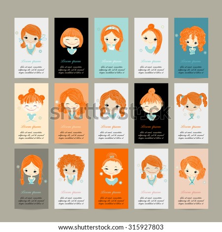 Business cards with cute girls for your design, vector illustration - stock vector