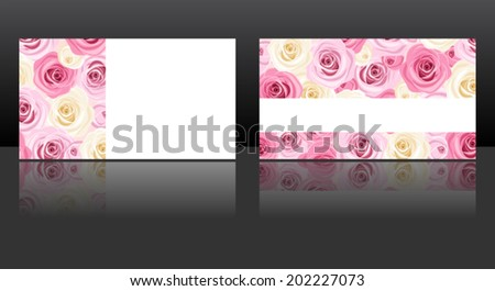 Business cards with pink and white roses patterns. Vector eps-10. - stock vector