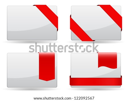 Business cards with red tags set - stock vector