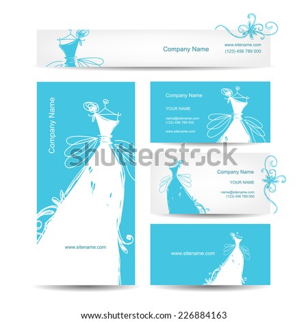 Business cards with wedding dress for your design - stock vector