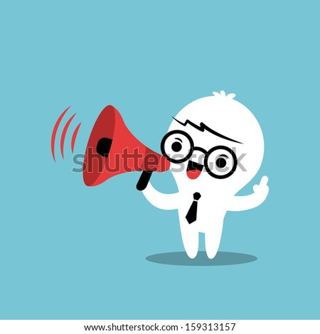 Business cartoon character with megaphone making an announcement - stock vector