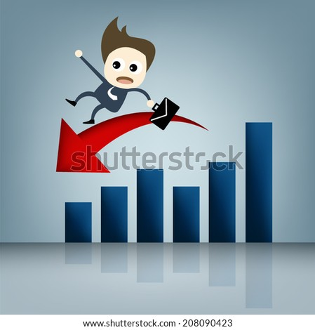 Business cartoon concept set , business man fall from graph cartooning design on blue background for concept artwork presentation , Vector - stock vector