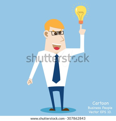 Business cartoon people get Idea, Vector Illustration EPS 10. - stock vector