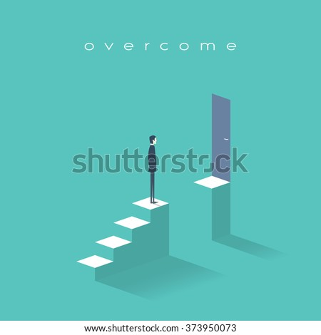 Business challenge concept with man standing on stairs. Goal or target behind obstacle. Eps10 vector illustration. - stock vector