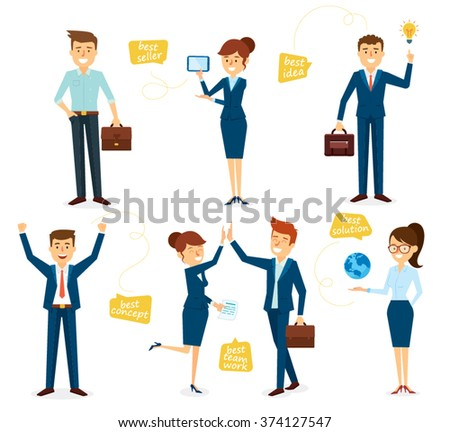 Business Character Design Set with Employees - stock vector