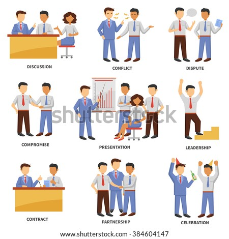 Business character set with discussion conflict and dispute scenes isolated vector illustration - stock vector