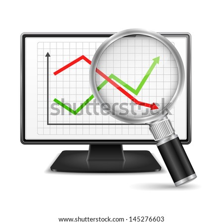 Business chart on the screen of computer monitor, vector eps10 illustration - stock vector