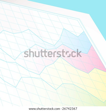 Business chart showing profit and loss on a white sheet of graph paper - stock vector