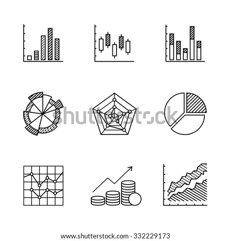 Business charts and data icons thin line art set. Black vector symbols isolated on white. - stock vector
