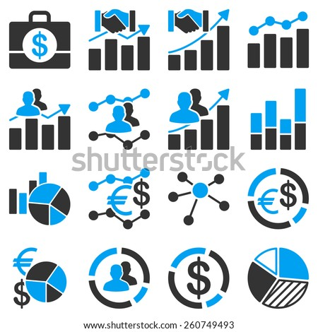 Business charts and graphs. These icons use modern corporate light blue and gray colors. White color is not used within vector icons. - stock vector