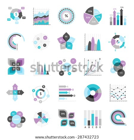 Business charts graphs and infographic elements icons set isolated vector illustration - stock vector
