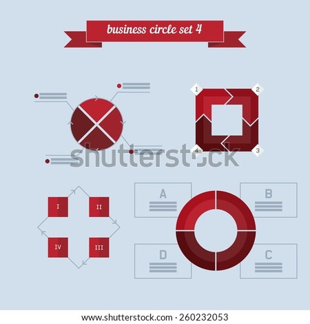 Business circle set 4. Flat style design - vector. Can be used for workflow layout, diagram, number options, step up options, web design, infographics. - stock vector