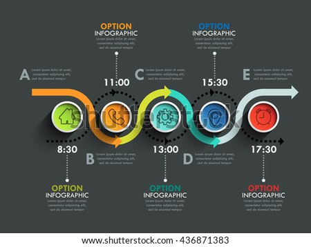Business circle timeline banner. Modern business infographic. Infographic number options. Winding road timeline.  Vector EPS 10 - stock vector