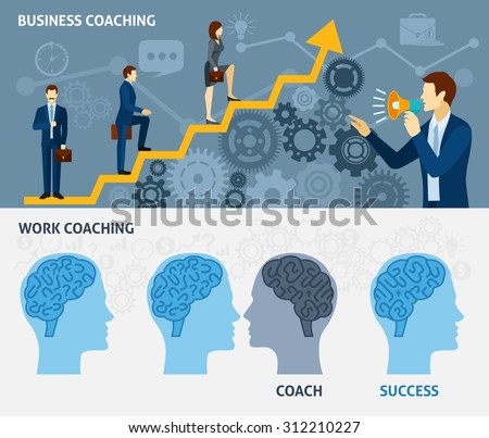 Business coaching as a way to quick success two horizontal flat banners set poster abstract vector illustration - stock vector