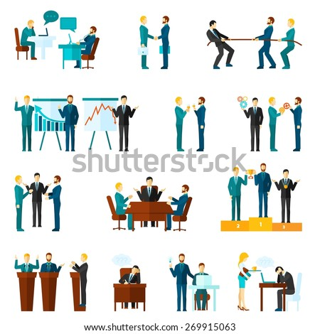 Business collaboration teamwork and agreement flat icons set isolated vector illustration - stock vector