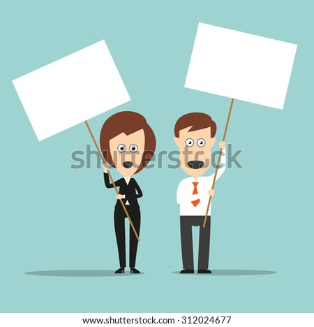 Business colleagues standing with open mouthes and holding sign boards with copyspace for demonstration protest or picket concept design. Cartoon flat style - stock vector