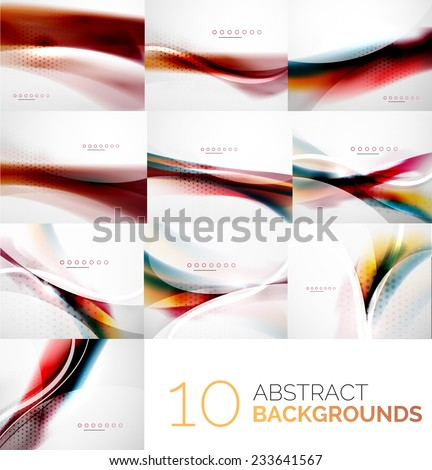 Business collection of flowing wave corporate abstract background, flyer, brochure design template - stock vector