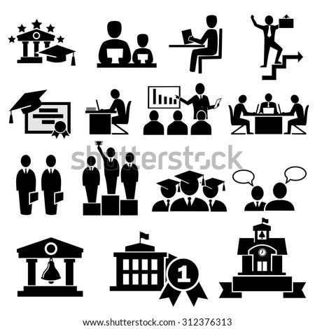 Business college education  icons vector. - stock vector