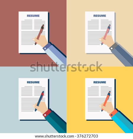 Business color background with resume, vector - stock vector