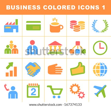 Business Colored Icons 1. - stock vector