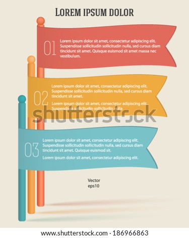 Business colorful flag on ribbon promotional products, charts and graphs options banner. Vector illustration eps 10. - stock vector
