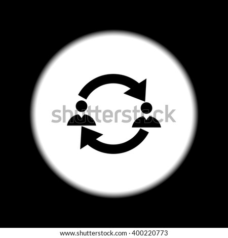 Business communication. Conceptual illustration. Profile users connected icon. Social icons. Men exchanging symbol - stock vector