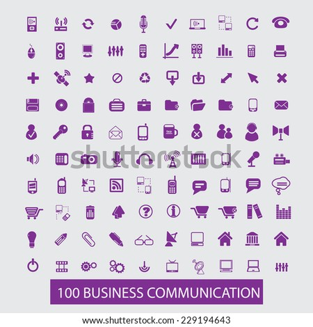 business, communication icons, signs, illustrations, vectors set - stock vector