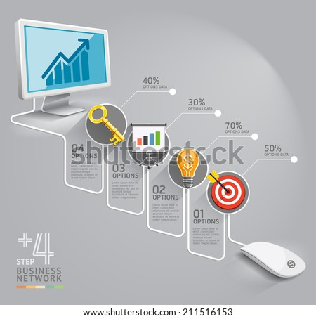 Business computer network. Can be used for workflow layout, banner, diagram, web design, infographic template. - stock vector