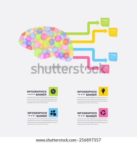 Business Concept Abstract Dots Style Brain Idea, Health or Capacity Infographics Arrow Vector Design - stock vector