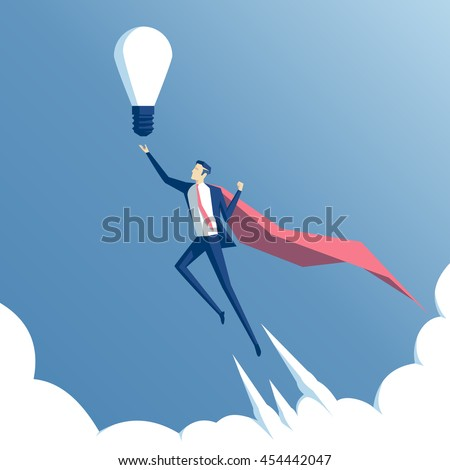Business concept and the idea of success. Businessman superhero flying above the clouds with idea - stock vector