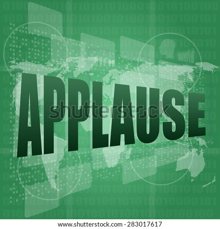 business concept: applause words on digital screen, vector - stock vector