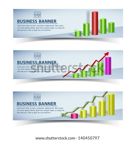 Business concept banners set. Vector Illustration, eps10, contains transparencies. - stock vector