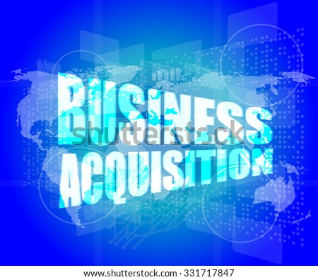 business concept, business acquisition digital touch screen interface vector illustration - stock vector