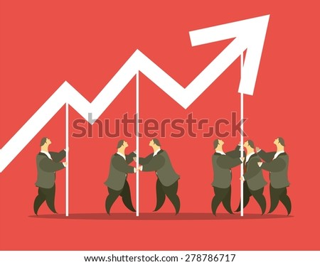 business concept business team raised the level of the boom - stock vector