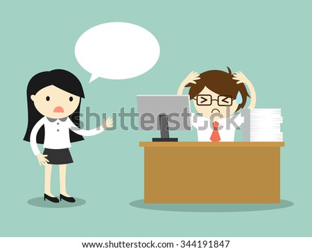 Business concept, business woman complains about businessman's work. Vector illustration. - stock vector