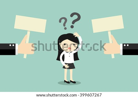 Business concept, Business woman confused about two choices. Vector illustration. - stock vector