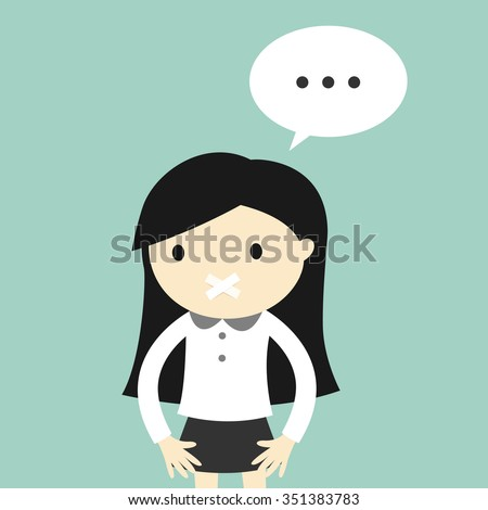 Business concept, Business woman feeling awkward with scotch tape over mouth. Vector illustration. - stock vector