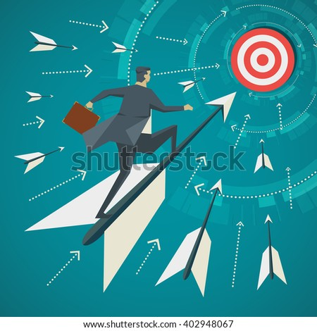 Business concept. Businessman standing on the arrows that are shot for goal. - stock vector