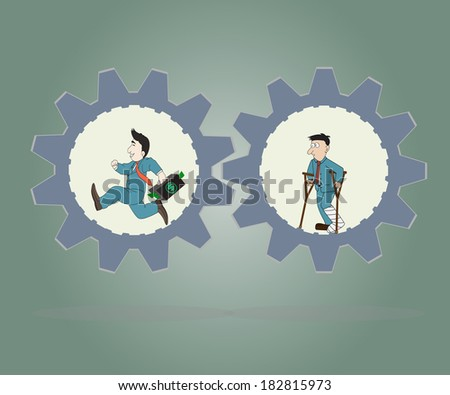 Business concept,Businessman wearing suit running inside of metal gear and  man standing injured ,Vector illustration. - stock vector